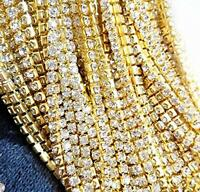 10 Yard Crystal Rhinestone Close Chain Clear Trim Sewing Craft 2mm Gold Color, N