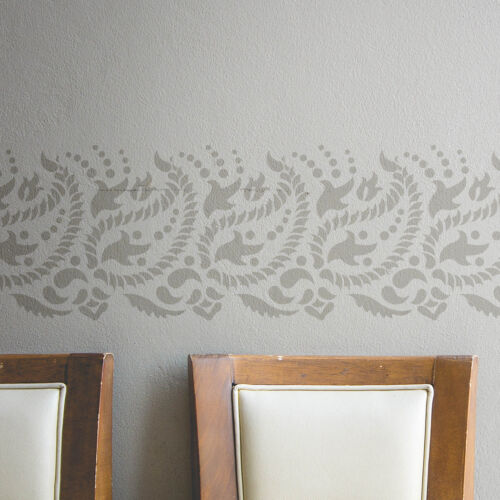 Paisley Wall Border Stencil for DIY decor Indian paisley design