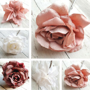 Details About Frosted Rose Or Poinsettia Christmas Tree Decoration Blush Pink White Clip Stem