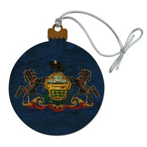 Rustic Pennsylvania State Flag Distress Wood Christmas Tree Ornament Ebay