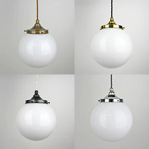 Details About Gl Opal Globe Pendant Light Vintage Period Style Br Bronze Silver
