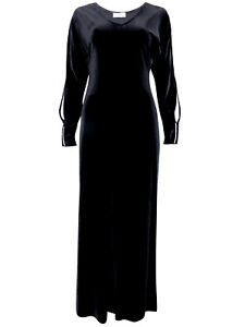 7c204fc2f8 New-Black Velvet Diamanté Trim Maxi Dress-Long Sleeve Party Evening ...