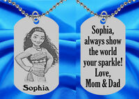 Moana Dog Tag Necklace For Kids, Personalized Free With Name Id Necklace