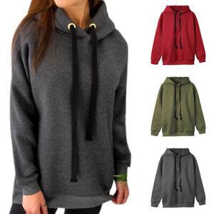 Womens Hoodies Solid Teenager Warm Pullover Sweatshirt