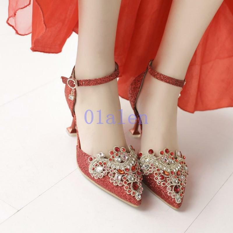 2018 donna weddings spring rhinestone pointy toe ankle strap bridal scarpe pump