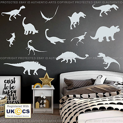 24 Dinosaur Wall Stickers Decal Assorted Vinyl Art Kids Bedroom Decor Removable