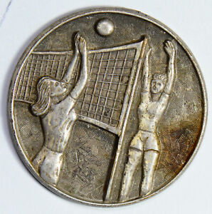 U0072-Medal-silver-vintage-volleyball-token-high-relief-handmade-combine-ship