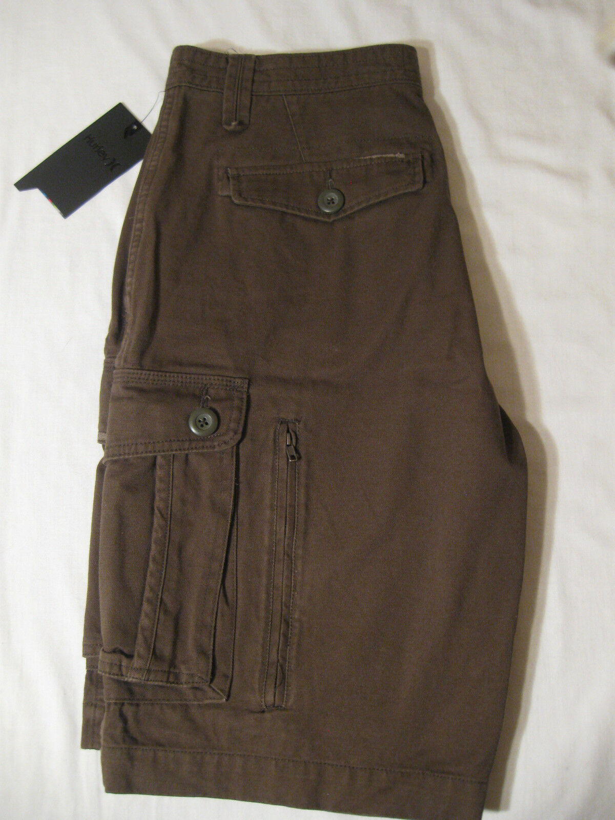 Hurley One and Only Cargo Shorts NWT 30 Distressed Brown 100% Cotton