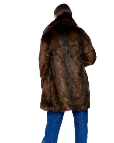Zara Taglia Fur Doppiopetto Coat S 10 UK Brown Faux 8 vgqXwgr