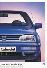VW GOLF CABRIOLET Joker PROSPEKT 12 96 brochure 1996 auto prospetto AUTO AUTOMOBILI CAR