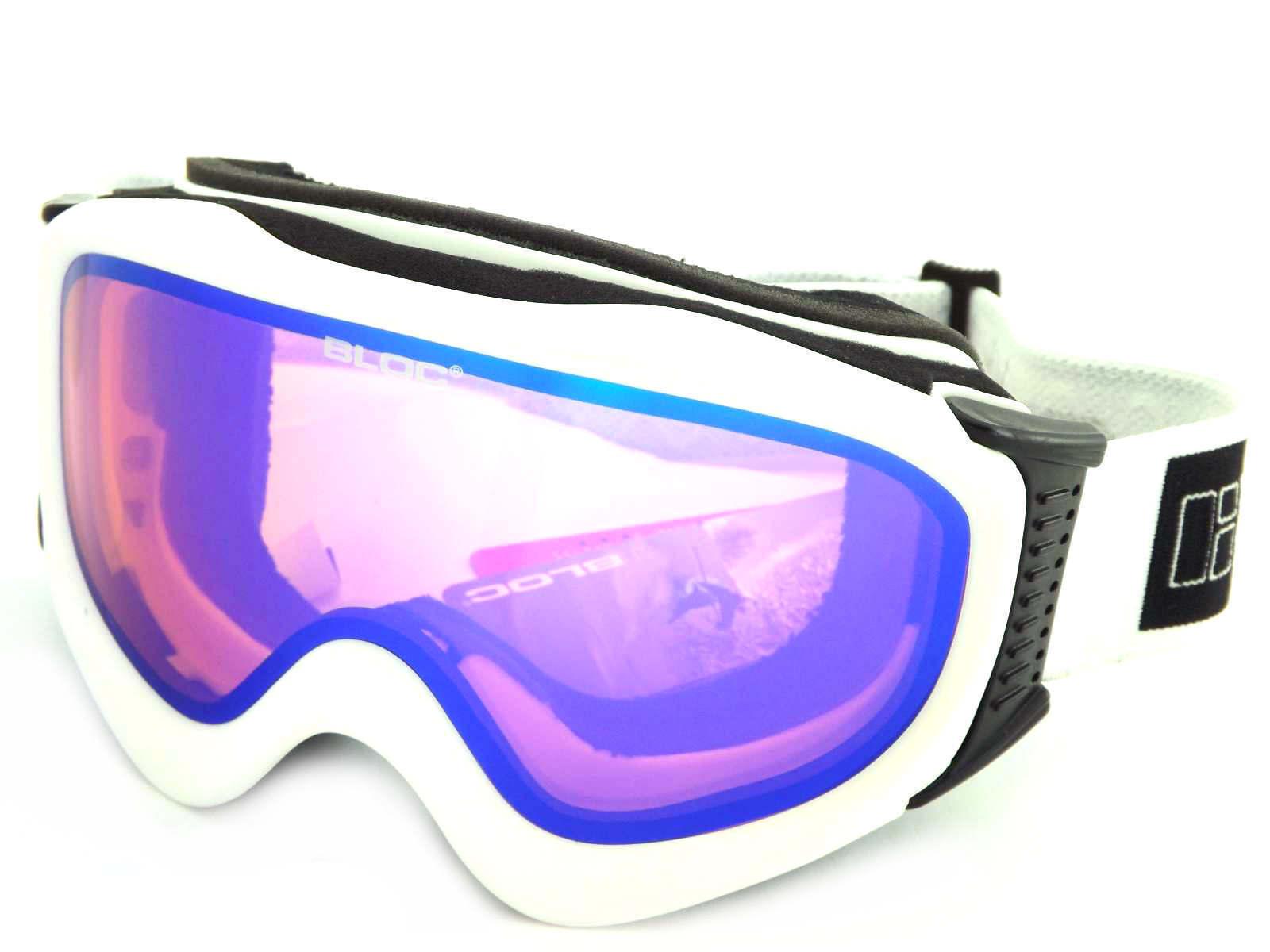 BLOC - ICE ski snow Goggles MATT WHITE  orange - bluee Mirror Cat.2 Lens ICE05