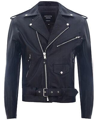Infinity Leather Giacca da Uomo in Pelle di Vacchetta Nera