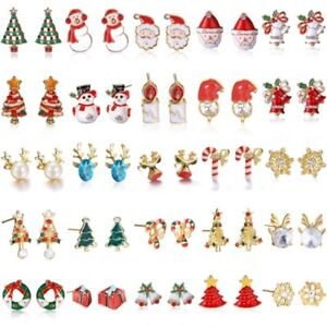 Lovely-Christmas-Xmas-Women-Jewellery-Santa-Claus-Xmas-Tree-Earrings-Stud-Gift