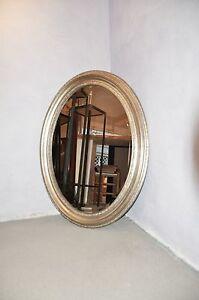 Oval spiegel antiksilber silber 66x56cm zierspiegel ovalspiegel wandspiegel top ebay - Spiegel oval silber ...