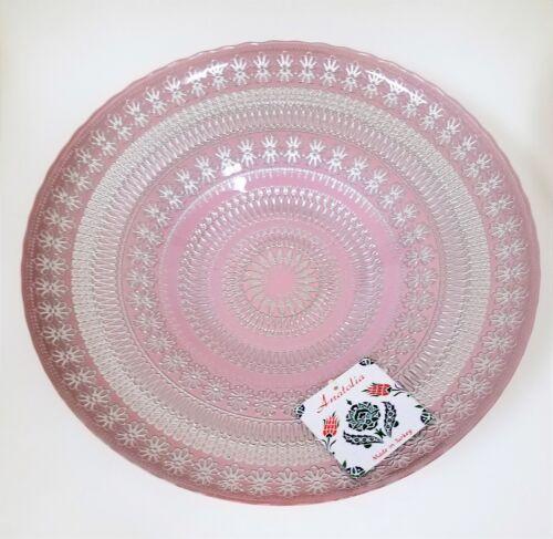 Neu ARGENT VERITABLE Pink Mauve Mandala Silber Geschmiedeter Glas Schale, Platte