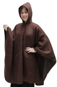 Hooded-Alpaca-Wool-Cape-Lined-Hood-Poncho-Brown