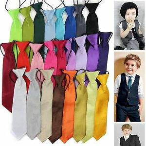 BOYS-KIDS-BABY-TODDLER-SCHOOL-NECK-TIE-NECKTIE-ELASTIC-PLAIN-BLACK-RED-WEDDING