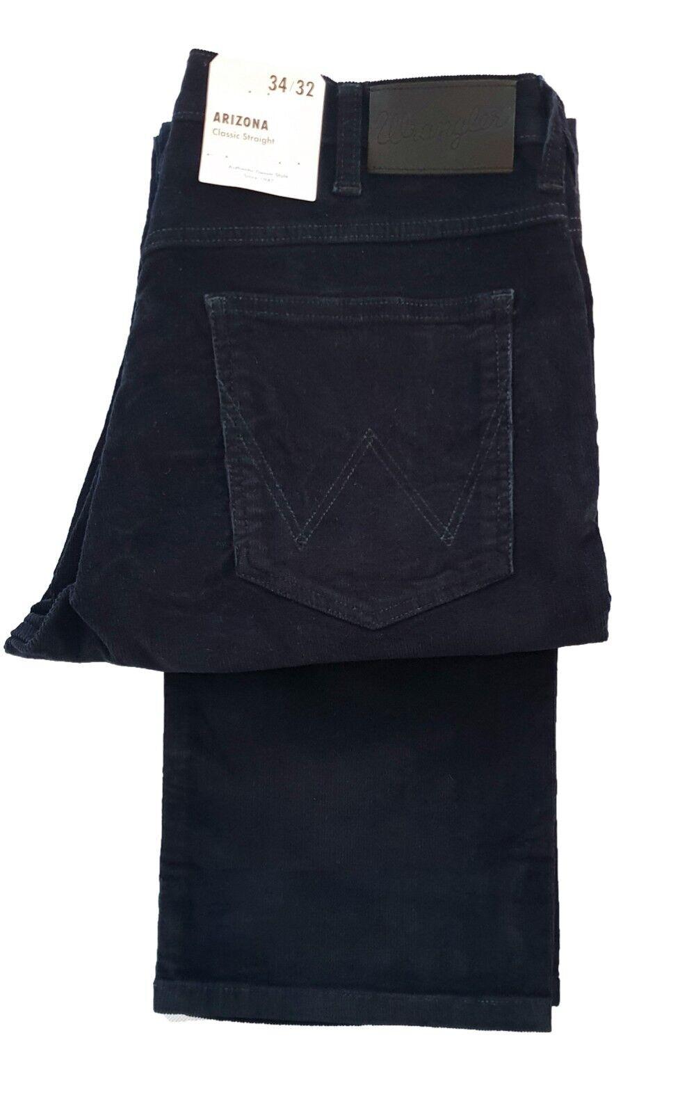 MENS WRANGLER ARIZONA TALL 36 LEG STRAIGHT LEG ZIP FLY CORD JEANS - NAVY blueE
