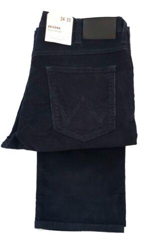 Homme Wrangler Arizona Grand 36 Jambe Coupe Droite Braguette Zippée Cordon Jeans-Bleu Marine