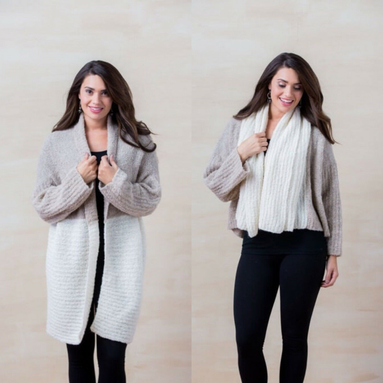 Womens Simply Natural Alpaca One Size Double Boucle Two color Cardigan