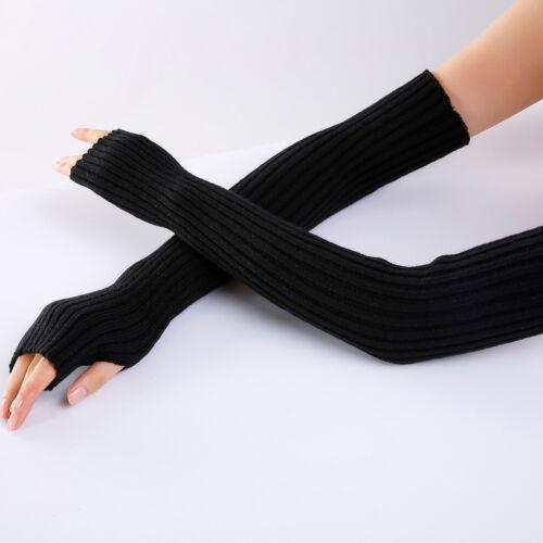 Women Winter Elbow Wrist Arm Warmer Solid Knitted Long Fingerless Gloves Mitten