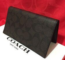 New Authentic Coach Signature PVC canvas Checkbook Holder w/pen loop Brown/Black