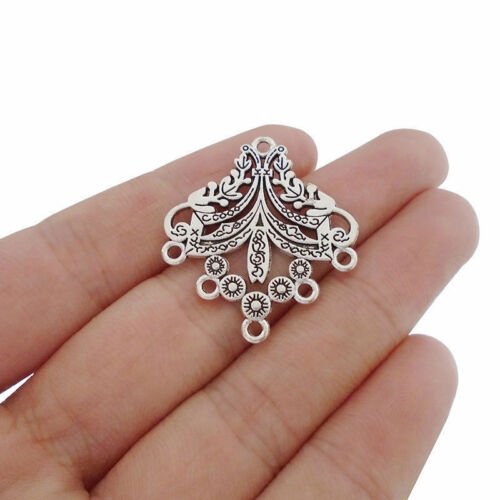 20pcs Antique Silver Earring Chandelier Connectors Charms Pendants Double Sided