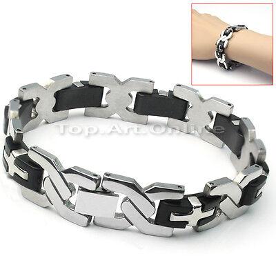 Herren Edelstahl Gummi Armband Armkette Armschmuck Herrenarmband Herrenschmuck