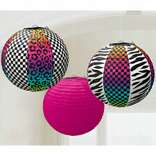 3 80's Retro Neon 1980s Totally 80s Party Paper Ball Lantern Hanging Decorations