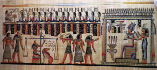 Egyptian Papyrus  HandMade Painting,size 70x170cm (28x68) Judgement Day (244)