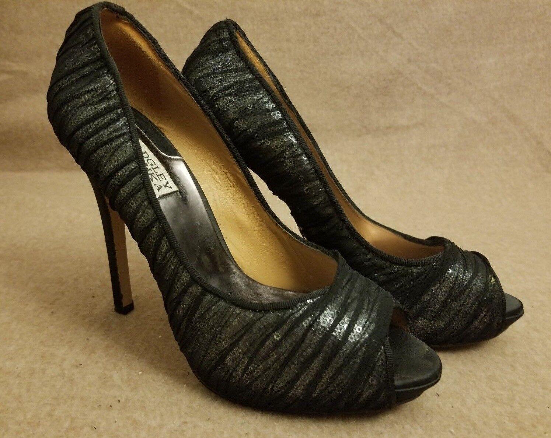 Badgley Mischka Women High Heel Peep Toe Sequins Black Pumps Evening Shoes Sz 10