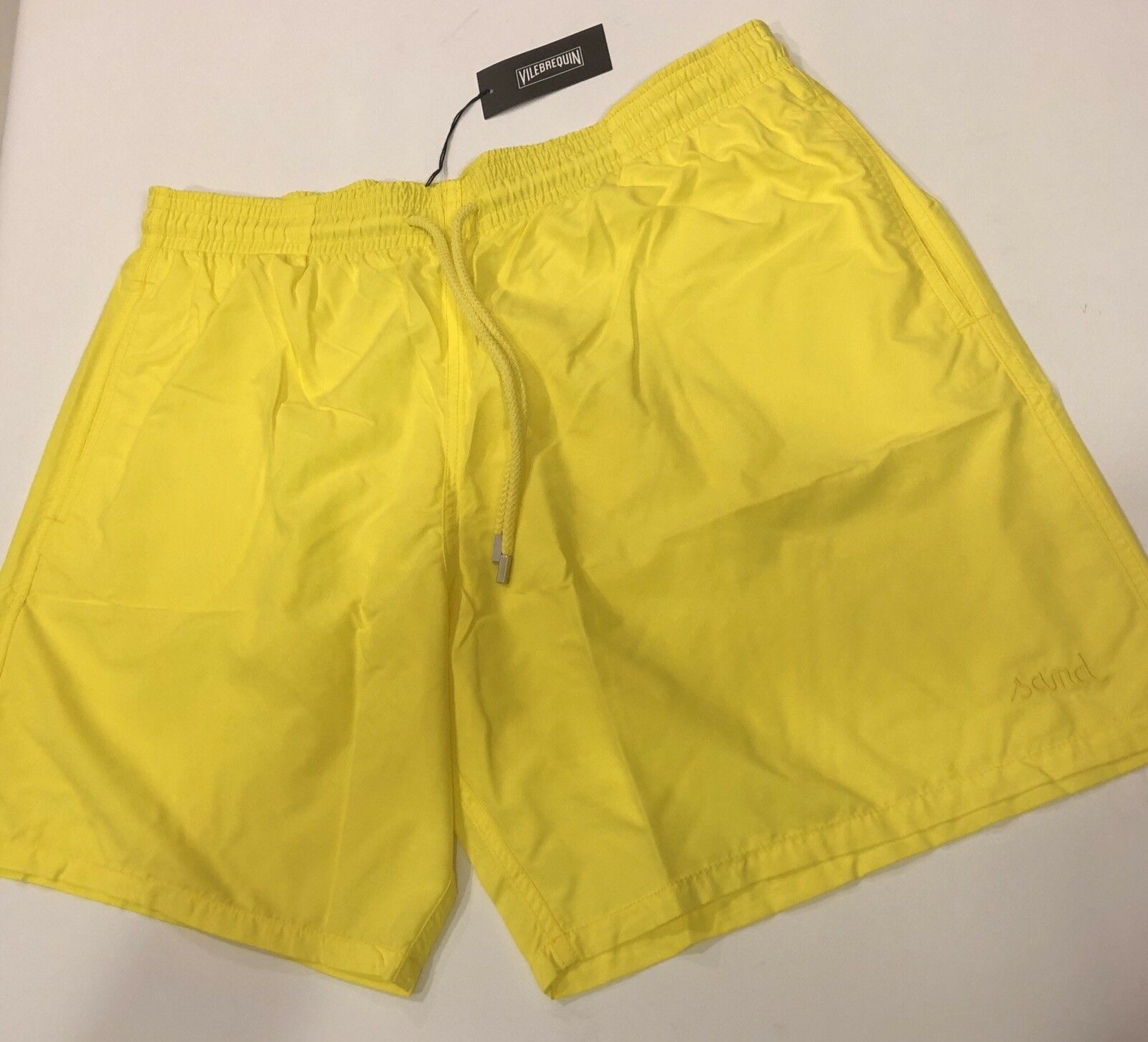 New w Tags Authentic Vilebrequin Water Reactive Yellow Swim Trunks  Men Size 3XL
