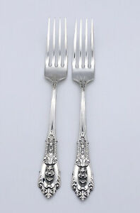"Genuine Wallace Sterling Silver Rose Point Dinner Fork 7/"" Inch Silverware"