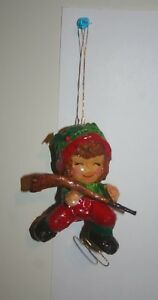 image is loading vintage paper mache christmas ornaments hockey player - Hockey Christmas Ornaments