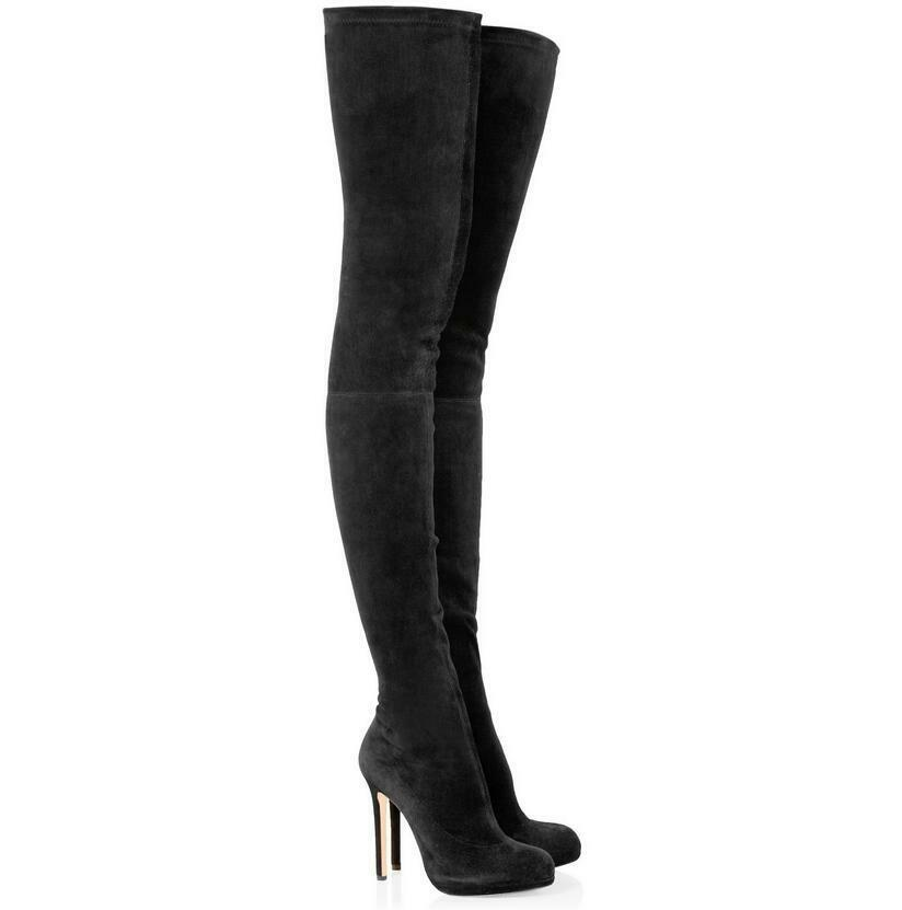 Faux-Wildleder Damenschuhe Sexy 34-45.46 High Heels Mode 34-45.46 Sexy Overkneestiefel Schwarz 633fcf