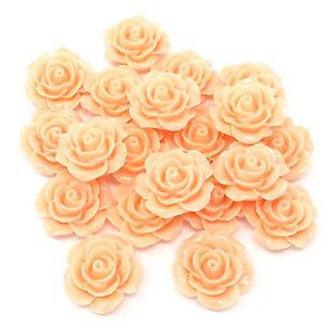 Peach-20-mm-Resin-roses-Flatbacks-Craft-Cardmaking-Rose-embellissements-Pack-de-20