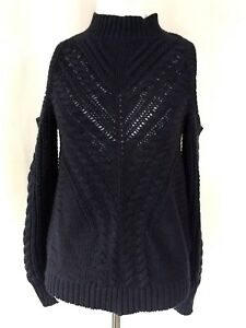 Aeropostale-Womens-Blue-Long-Sleeve-Cold-Shoulder-Cable-Knit-Sweater-S