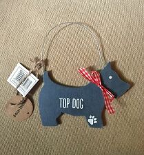 Rustic Shabby Chic Wooden Top Dog Blue Gingham Hanging Decoration Gift Home