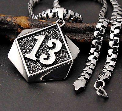 Men's 316L Stainless Steel Lucky 13 UL 13 Thirteen Biker Pendant Necklace Chain