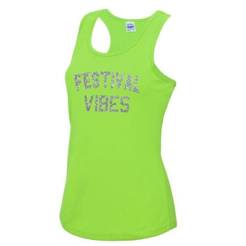 Festival Vibes Vest Tee Top Gym Workout Fitness JC015 Glastonbury Reading