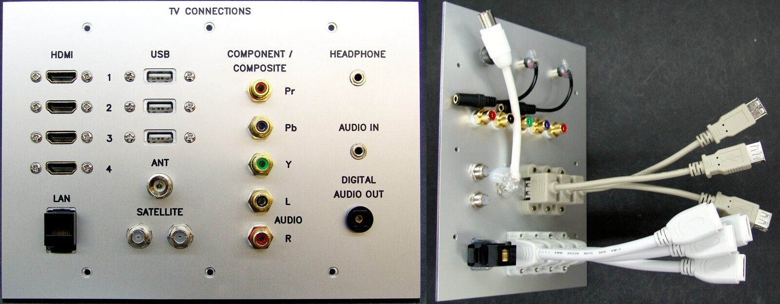 AV TV Metal Wall Plate HDMI/USB/Cat6/Composite/Jack/RF/Optical Audio tail-leads
