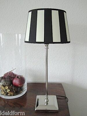 Lampe Tischlampe Streifen Klassisch EDEL Lampenschirm Oval Lampenfuß Beleuchtung