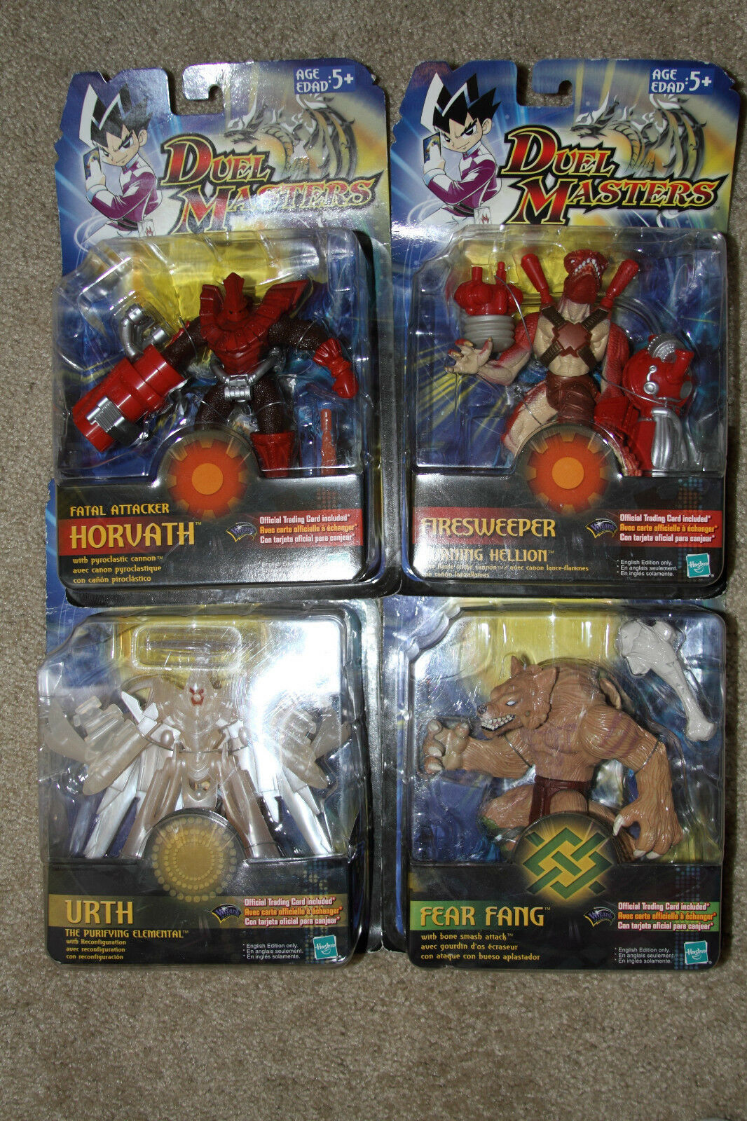 DUEL MASTERS figures set of 4 Horvath, Firesweeper, Urth and Fear Fang