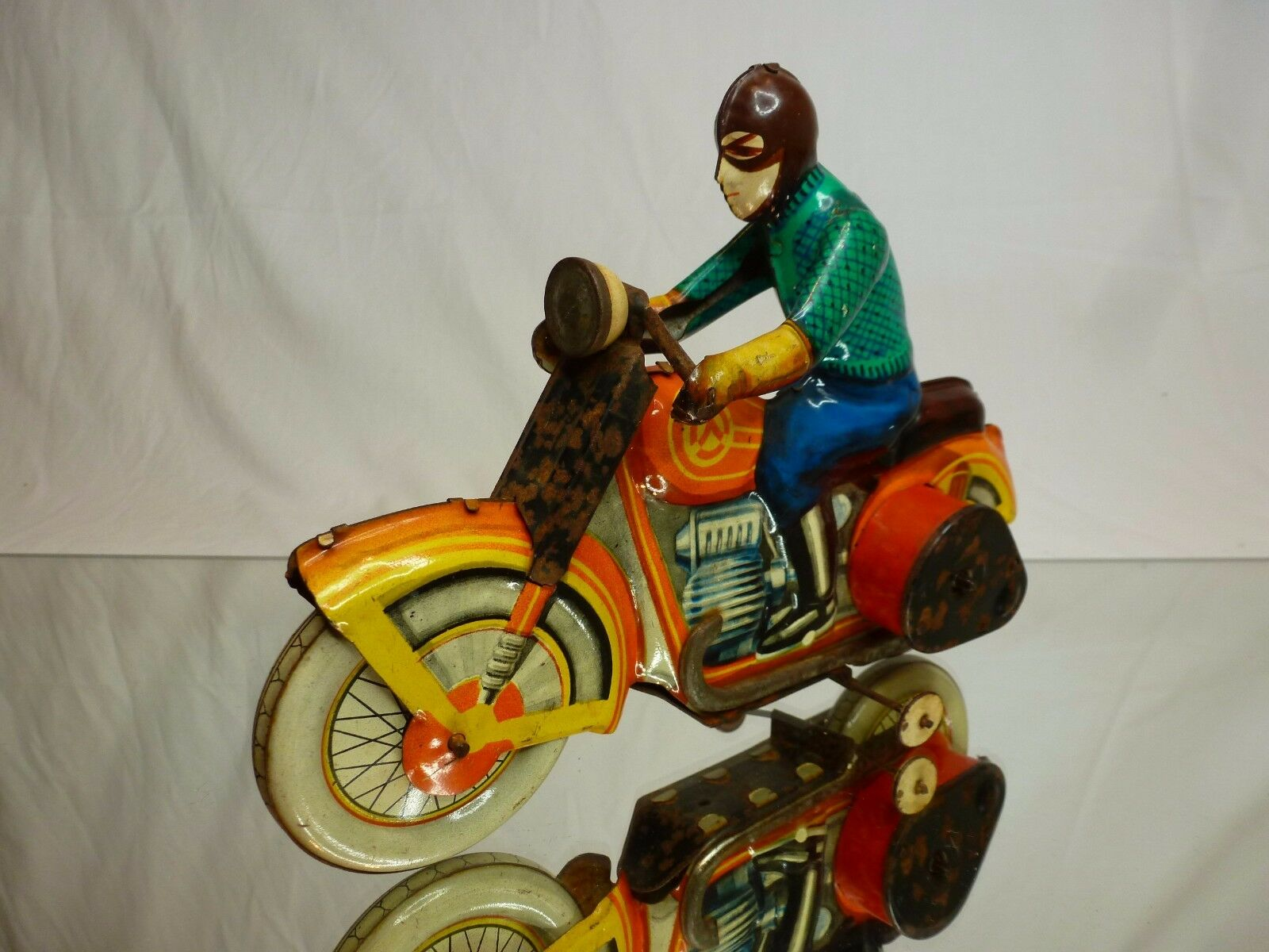TIN TOY BLECH - VINTAGE WINDUP  MOTORCYCLE L22.0cm - GOOD CONDITION