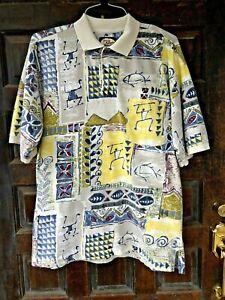 TOMMY-BAHAMA-Cotton-Knit-Polo-Shirt-Mens-XL-Hawaiian-Polynesian-Tiki-Print