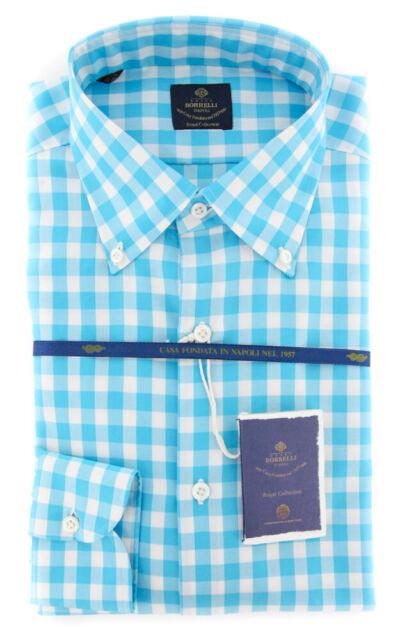 EV06451872STEFANO New $600 Luigi Borrelli Light Blue Check Shirt