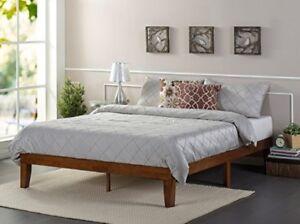Queen Platform Bed Wood Modern Low Profile Slat Support No