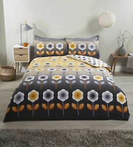 FLORAL FLOWERS OMBRE OCHRE YELLOW COTTON BLEND DOUBLE DUVET COVER