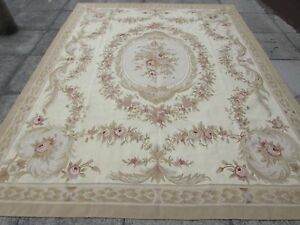 Old-Hand-Made-French-Design-Wool-Beige-Gold-green-Original-Aubusson-312X242cm