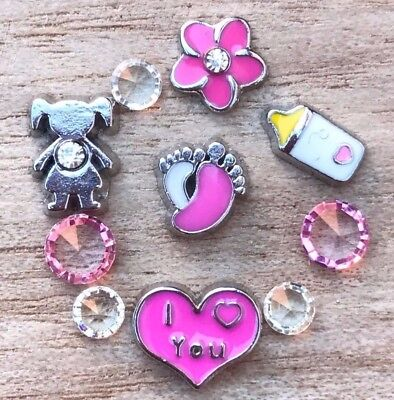 10pc Lot Baby Bottle Newborn Floating Charm For Glass Memory Locket Necklace
